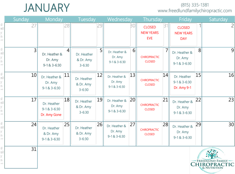 January Calendar of Events at Freedlun Family Chiropractic & Nutrition