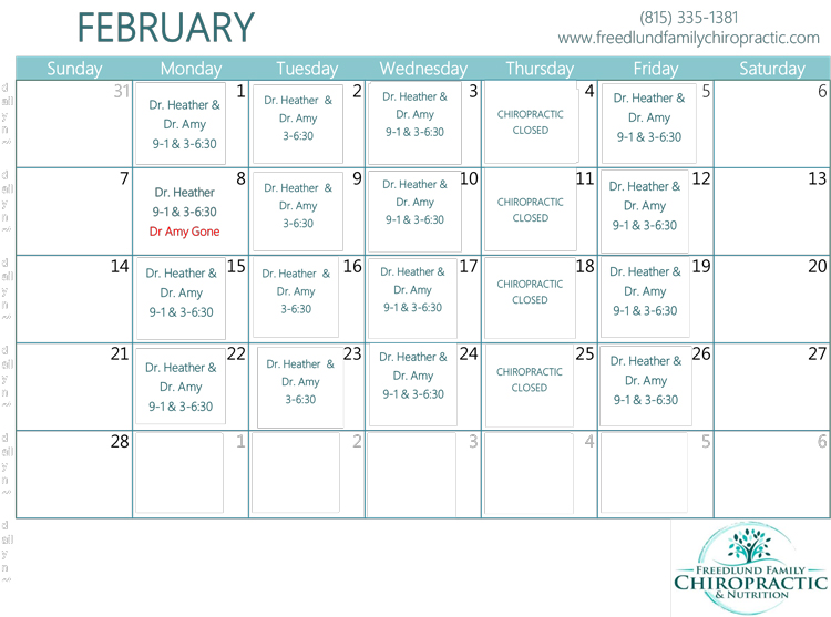 February Calendar of Events at Freedlund Family Chiropractic & Nutrition